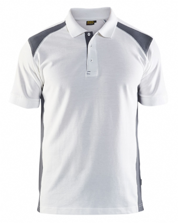 Blaklader 3324 Pique 2 Colour Polo Shirt (White/Grey)